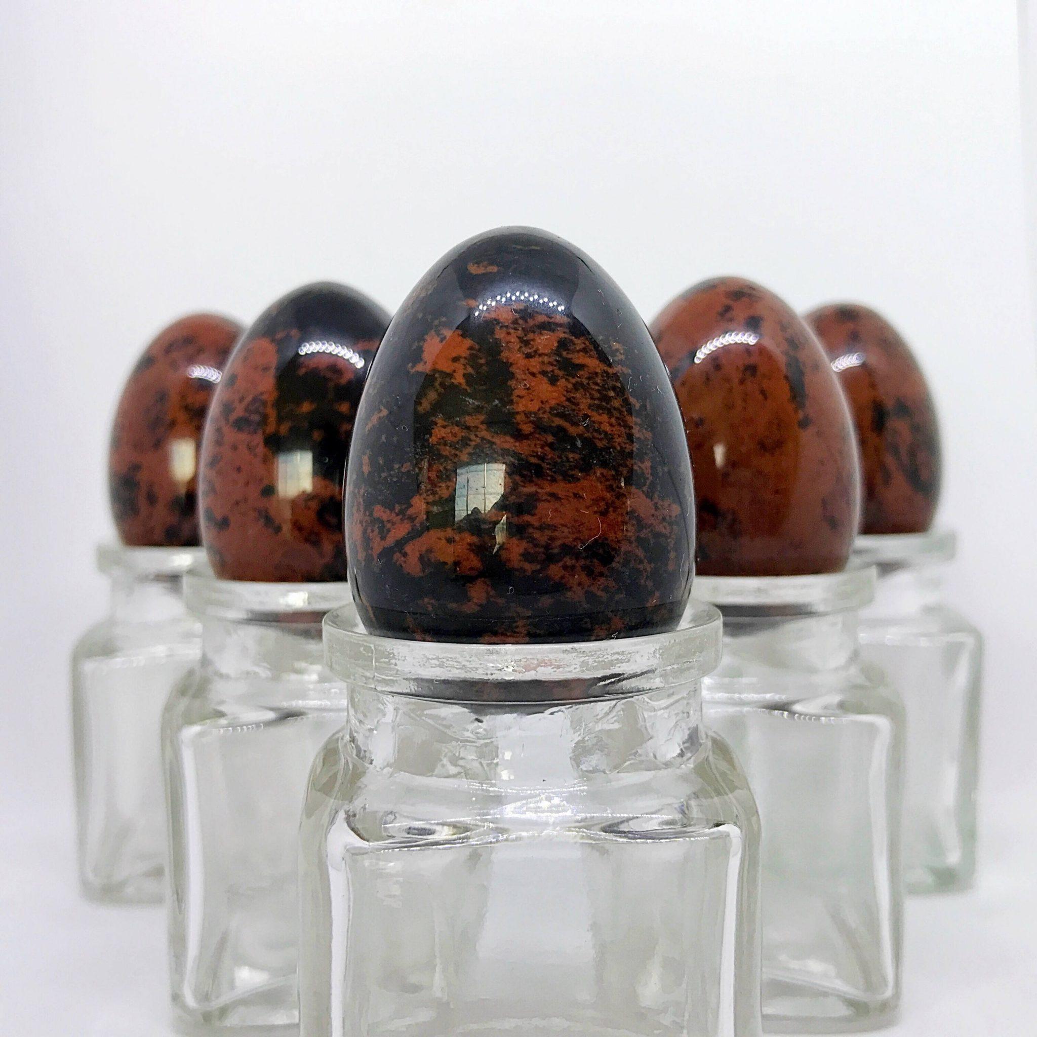 5 Medium, nondrilled Mahogany Jasper Yoni Eggs
