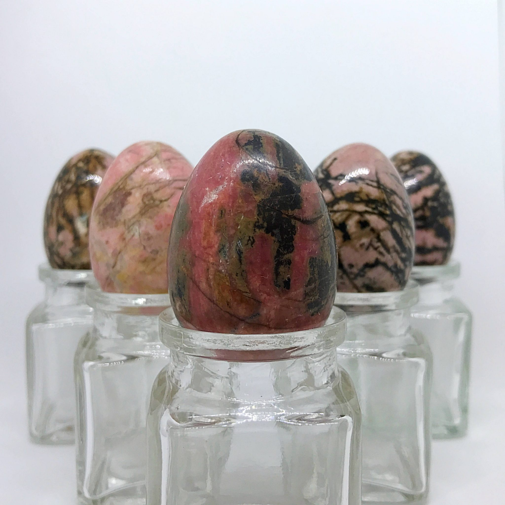 5 medium Rhodonite Yoni Eggs